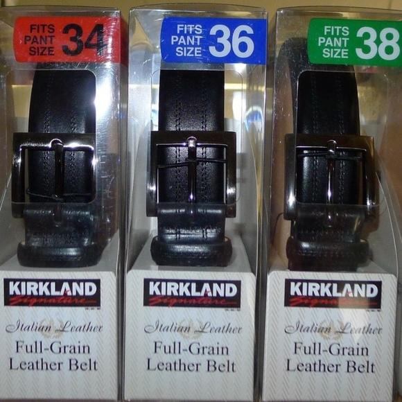 cf917dd43e8 Kirkland Signature Men's Italian Leather Belt Boutique